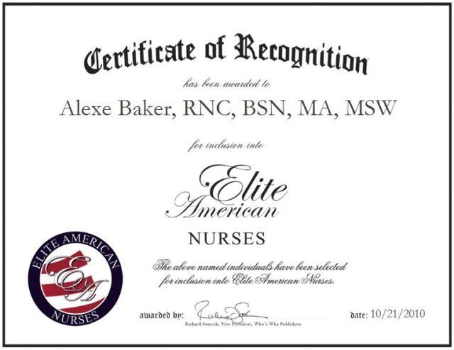 Alexe Baker, RNC, BSN, MA, MSW