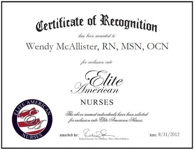 Wendy McAllister, RN, MSN, OCN