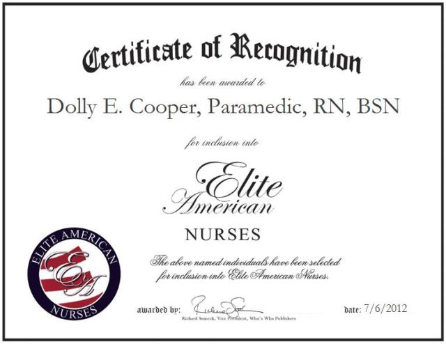 Dolly E. Cooper, Paramedic, RN, BSN